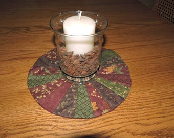 """Dresden Candle Mat in Burgundy, Green and Dark Brown - Holly Taylor Fabrics    11 3/4"""" in Diameter"""