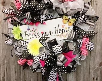 Bless Our Home Wreath, Summer Wreath, Black and White Deco Mesh Wreath, Summer Decor, Religious Decor, Summer Deco Mesh Wreath, Front Door