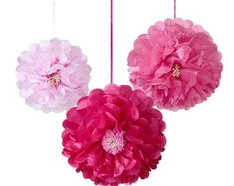 3x Garden Pink Flower Pom Poms in Blossom colours