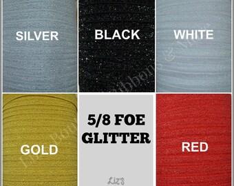 FOE, 3yds, glitter fold over elastic, 5/8, headband  supplies, hair bow,  craft supplies, solid elastic, glitter headband, shimmer