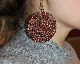 Copper Hand Painted Filigree Earrings