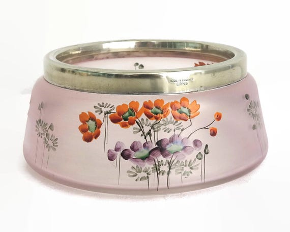 Large antique hand painted glass bowl with silver plated rim, pale purple glass with orange and purple flowers, England, circa 1920s