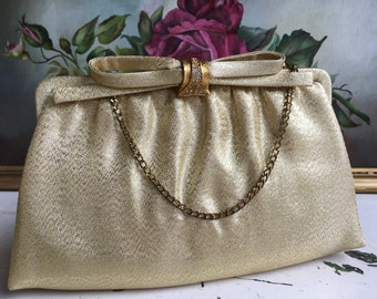 Elegant Vintage Goldtone Dress Purse with Jeweled Clasp and Coin purse
