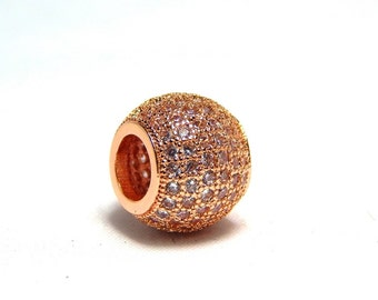1 - 10mm Rose Gold Micro Pave Bead, Rose Gold Slider Beads, Pave Slider Beads, CZ Micro Pave, Rose Gold Pave Beads, Large Hole Beads, T-104A