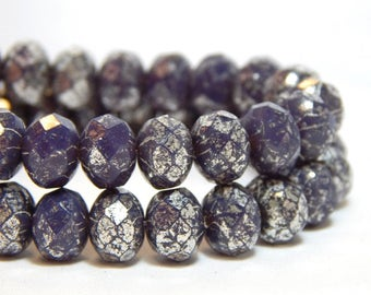 8x6mm Purple Mercury Czech Beads, Purple Beads, Purple Rondelles, Czech Rondelles, Purple Rondelles, Purple Donut Beads, T-81A