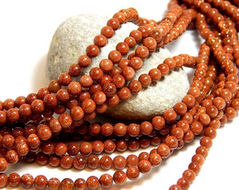 100 Beads, 4mm Goldstone, Full Strand, 4mm Orange Goldstone, Goldstone, Small Beads, 4mm Beads, 4mm Goldstone Gemstones, Tiny Beads B-18A