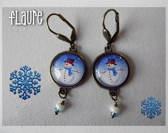 """Earrings with cabochons """"Snowman"""""""