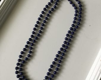 Navy blue beaded vintage necklace