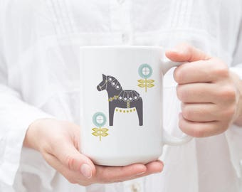 Gray and Blue Dala Horse Mug