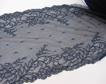 "Black lace,Stretch Lace Trim - Extra Wide Lace Trim, 8.6"" Wide Lace Trim-black trimming"