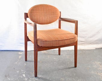 Mid Century Chair by Jens Risom, Vintage, Danish, Solid Walnut Wood Frame