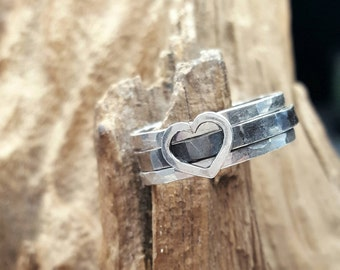 silver ring,stacking ring,heart ring,minimalistic ring,wire,ring set,combination ring,silver jewelry,unique jewelry,cute ring,boho,bohemian