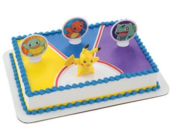 Pokemon Light Up Pikachu 4 piece Cake Kit Cake Toppers Decorations Party