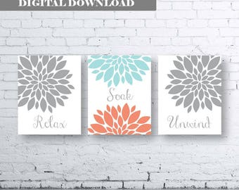 Bathroom Print Art-Relax Soak Unwind- Coral Gray Aqua Art- Coral Grey Aqua Flower Bathroom. Coral and Gray Floral Wall Art. Coral and Aqua.