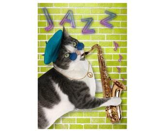 Cat Photo Card: Hep Cat