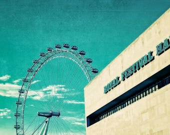 London photograph, London art, original fine art print, London architecture, teal, vintage style - Teal Wheel
