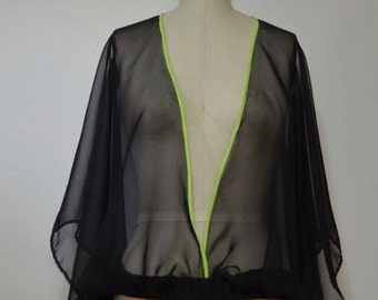 Batwing flare chiffon top with elastic waist and contrasting binding. Business casual, special occasion sheer blouse, womens unique shirt