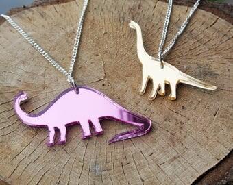 Dinosaur Necklace - Jurassic Jewellery - Brachiosaurus - Brontosaurus - Laser cut - Acrylic