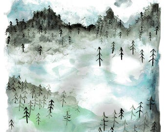 Trees, Birds and Mountains Print - A3, A4, A5. Landscape, Nature, British, Watercolour, Forest, Sky, Woodland, Serene, Calm, Snow, Clouds