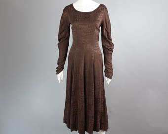 1980s 1990s GHOST made in England dress medieval brown chocolate brocade long S