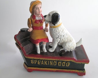 Vintage, Speaking Dog Cast Iron Coin Bank, Mechanical Cast Iron Piggy Bank, Girl in Yellow Dress, Mechanical Coin Bank, Speaking Dog Bank