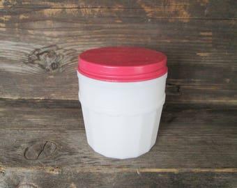 Cold Cream Jar, Milk Glass; Vintage, Made in U.S.A, Bathroom Acce