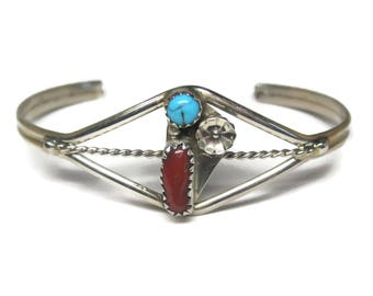 Traditional Navajo Coral Turquoise Cuff Bracelet 6 Inches