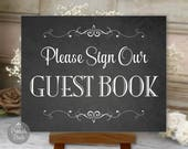 Guest Book Sign, Chalkboard Printable Wedding Sign, Choose Your Size, Digital (#GUE1C)