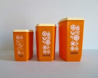 Vintage Orange Nesting Canister Set