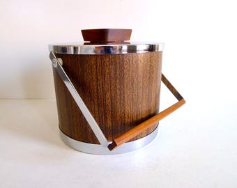 Vintage Faux Wood Grain and Chrome Ice Bucket by Kromex