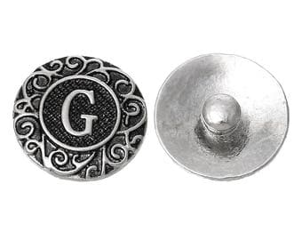 "1pc 19mm Antique Silver Alphabet /Letter ""G"" Snap Button Charms Knob Size: 5.5mm( 2/8"")"