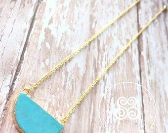 Turquoise 1/2 moon necklace