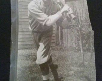 Antique Vintage Black & White Snapshot Photo Of Baseball Player W/ Bat