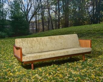 Mid Century Modern Danish Modern Early Peter Hvidt Orla Mølgaard-Nielsen France and Daverksoen Teak Sofa Teak Couch Cane Arms John Stuart