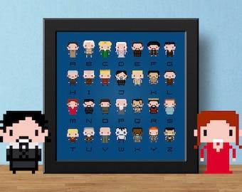 Game of Thrones Cross Stitch Pattern Pdf | Modern Cross Stitch Sampler | Easy Cross Stitch Chart Alphabet | TV Cross-Stitch Design