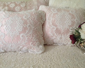 Silk pillow in blush with vintage lace overlay.  Pretty feminine addition to a romantic decor.