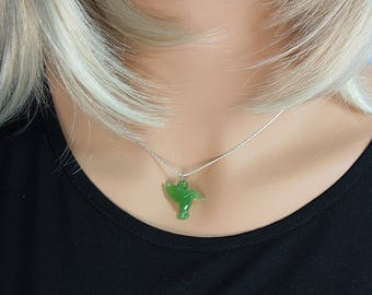 Bridesmaid Gift Necklace, ,Bridal Necklace,Humming Bird Necklace,Brides Necklace,Wedding Jewelry,Bird lovers,Bird,Green Necklace