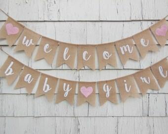 Welcome Baby Girl Banner, Baby Girl Shower Decorations, Baby Girl Banner, Chic Shower Decor, Girl Baby Shower Banner, Pink Baby Shower Decor