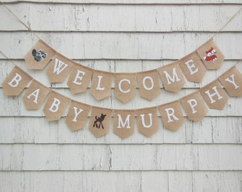 Woodland Baby Shower Decorations, Woodland Baby Banner, Baby Boy Shower Decor, Baby Shower Banner, Custom Baby Banner, Fox Baby Shower