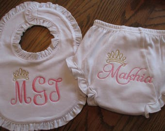 Personalized Baby bib with matching diaper cover