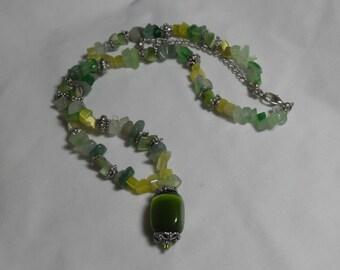 SALE Gemstone cats eye necklace,  Green gemstone pendant, jewelry, gift for her, retro Boho hippie budget bling, Gingerslittlegems