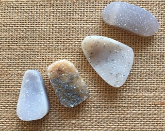 4 Agate Druzy Pendants, Polished and Drilled, Lot of 4