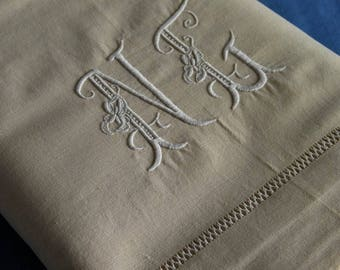 Antique French Linen Metis Sheet Monogram NG Flag Lilies Unused 8ft Wide