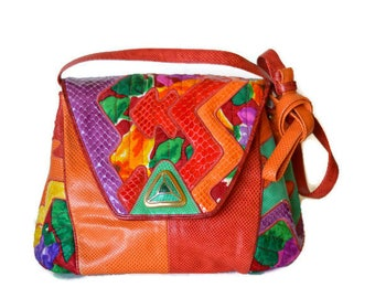 Vintage Sharif Colorful Leather Snakeskin Shoulder Crossbody Bag Abstract High Fashion
