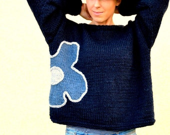 Navy knitted sweater for women, hand knitted sweater with flower, M size pullover , womens clothing