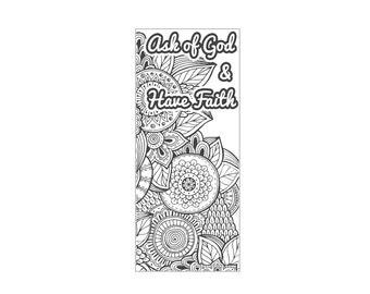 "2017 Mutual Theme Coloring Bookmark 3""x7"" - Mandala Pattern Ask of God & Have Faith"