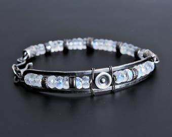 Moonstone bracelet, oxidized sterling silver gemstone bracelet, oxidized silver bracelet, unique bracelet, moonstone jewelry, rustic jewelry