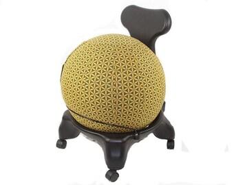 55cm Yoga Ball Cover, balance ball cover, exercise ball cover, fitness ball cover - Olive Flower of Life Print