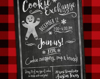Cookie exchange invitation, printable, cookie swap, christmas cookie, cookie decorating party, christmas, baking, chalkboard invitation