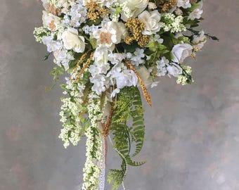 SILK bridal WEDDING bouquet ivory and white burlap